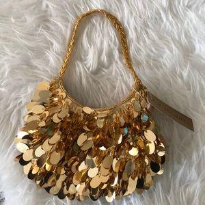 La Regale small gold beaded sequin evening bag